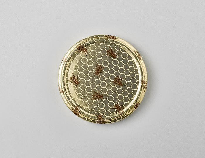 Deckel gold mit Bienen TO 82mm